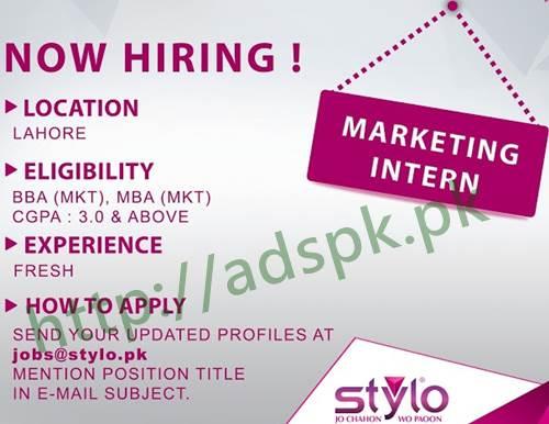 Jobs Stylo Company Lahore Jobs 2017 Marketing Intern Jobs Eligibility Fresh BBA MBA Marketing Apply Online Now