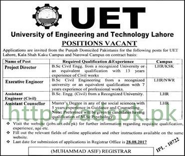 Jobs UET Lahore Jobs 2017 Project Director Executive Engineer Assistant Engineer Civil Assistant Counsellor Jobs Application Deadline 28-08-2017 Apply Now