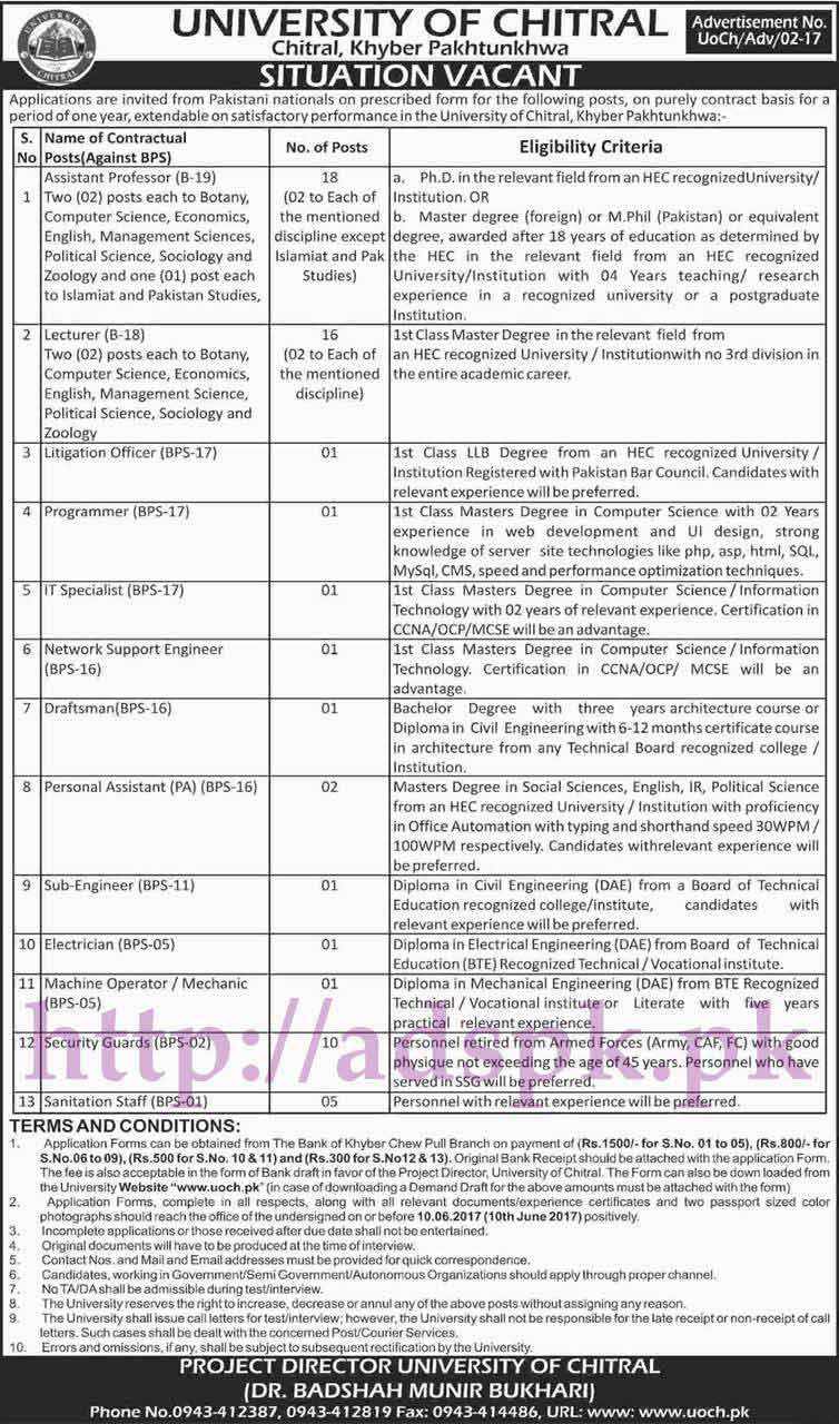Jobs University of Chitral Jobs 2017 for Assistant Professors Lecturers Litigation Officer Programmer I.T Specialist Network Support Engineer Draftsman Personal Assistant Sub Engineer Jobs Application Form Deadline 10-06-2017 Apply Now