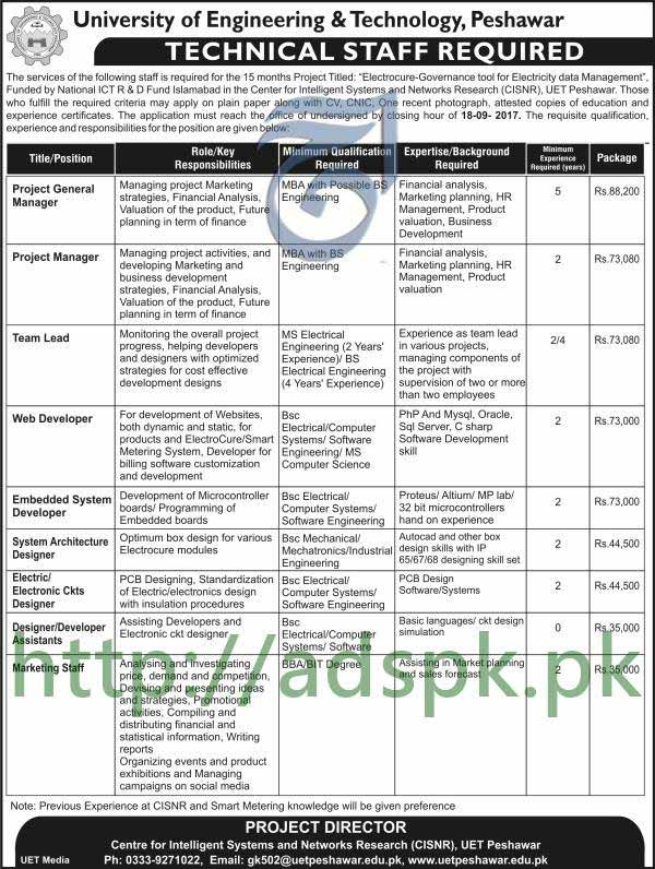 Jobs university of engineering and technology cisnr uet peshawar jobs university of engineering and technology cisnr uet peshawar kpk jobs 2017 project general manager project thecheapjerseys Image collections