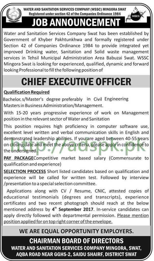 Jobs WSSC Swat Jobs 2017 Chief Executive Officer Jobs Application Deadline 04-08-2017 Apply Now