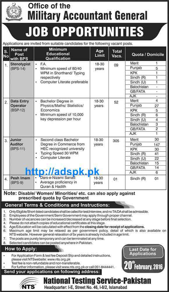 Latest Jobs Of Military Accountant General Jobs 2016 Nts Recruitment