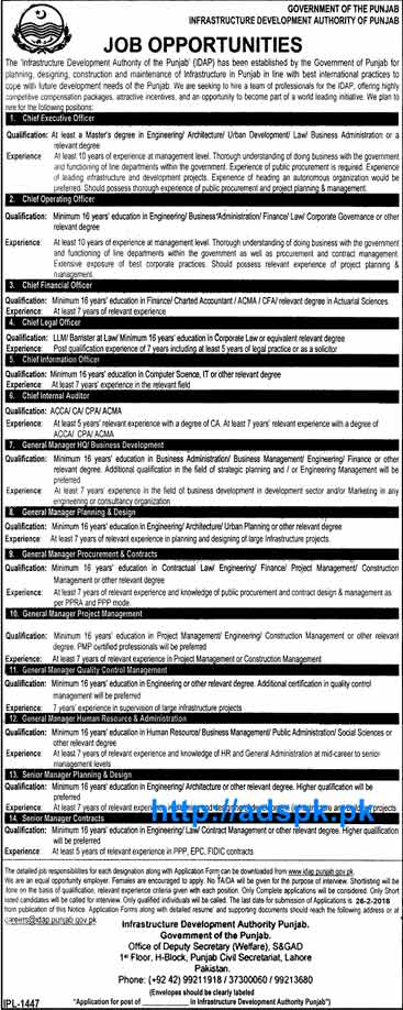 Jobs of punjab govt infrastructure development authority of punjab jobs 2016 for chief - Chief infrastructure officer ...