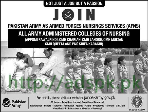 Join Pakistan Army as Armed Forces Nurslings Services (AFNS) 2017 All Army Administered College of Nursing Apply Online Now