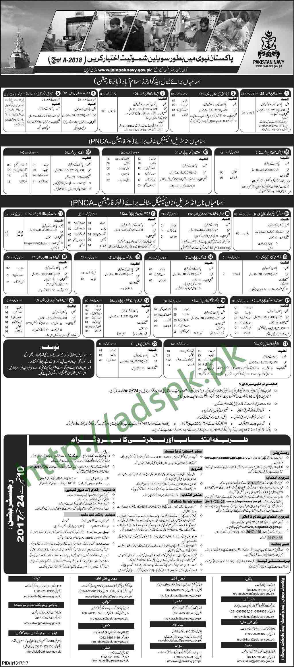 Join Pakistan Navy Civilian Batch A-2018 Jobs 2017 Written Test ...