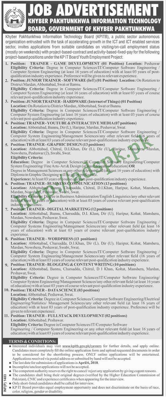 KPITB KPK Jobs 2018 Trainers & Junior Trainer Various Disciplines Jobs Application Form Deadline 06-04-2018 Apply Online Now