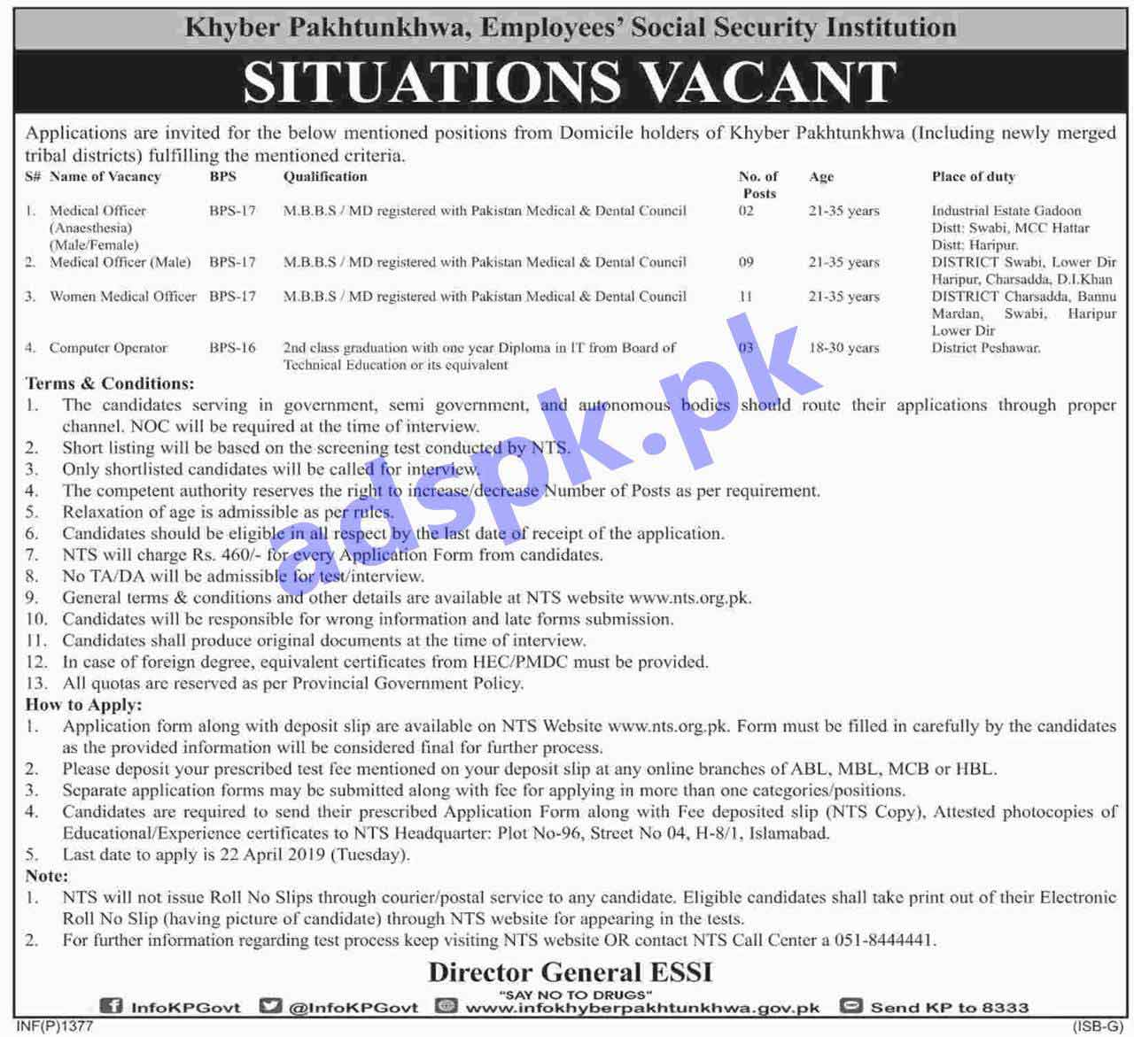 KPK Employees Social Security Institution Jobs 2019 NTS