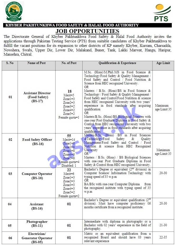KPK Food Safety & Halal Food Authority Jobs 2019 PTS Written Test MCQs Syllabus Paper for Assistant Director Food Safety Officer Computer Operator Jobs Application Form Deadline 29-04-2019 Apply Now