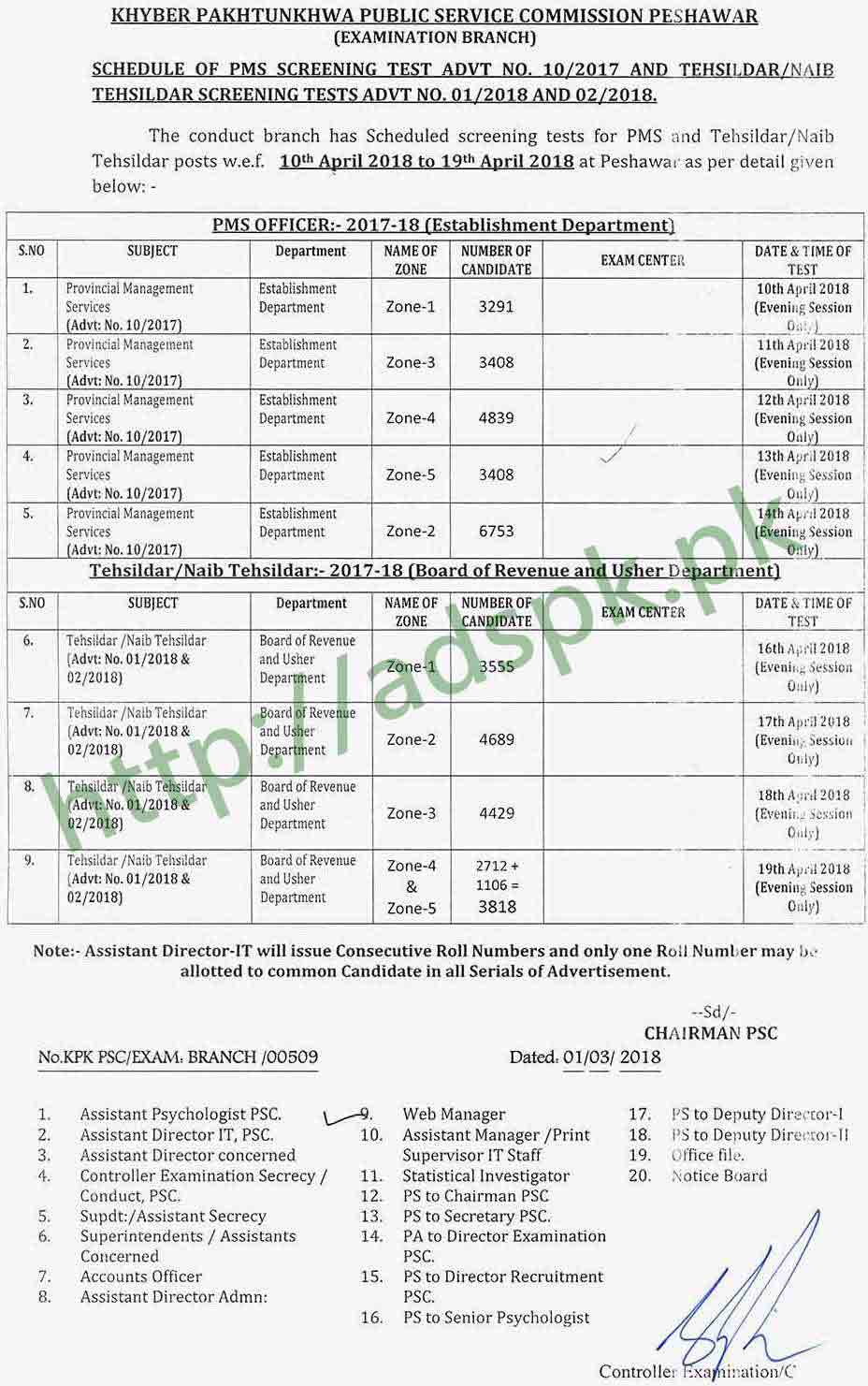KPPSC Date Sheet Ability Test PMS Tehsildar Naib Tehsildar April 2018 by Khyber Pakhtunkhwa Public Service Commission Peshawar
