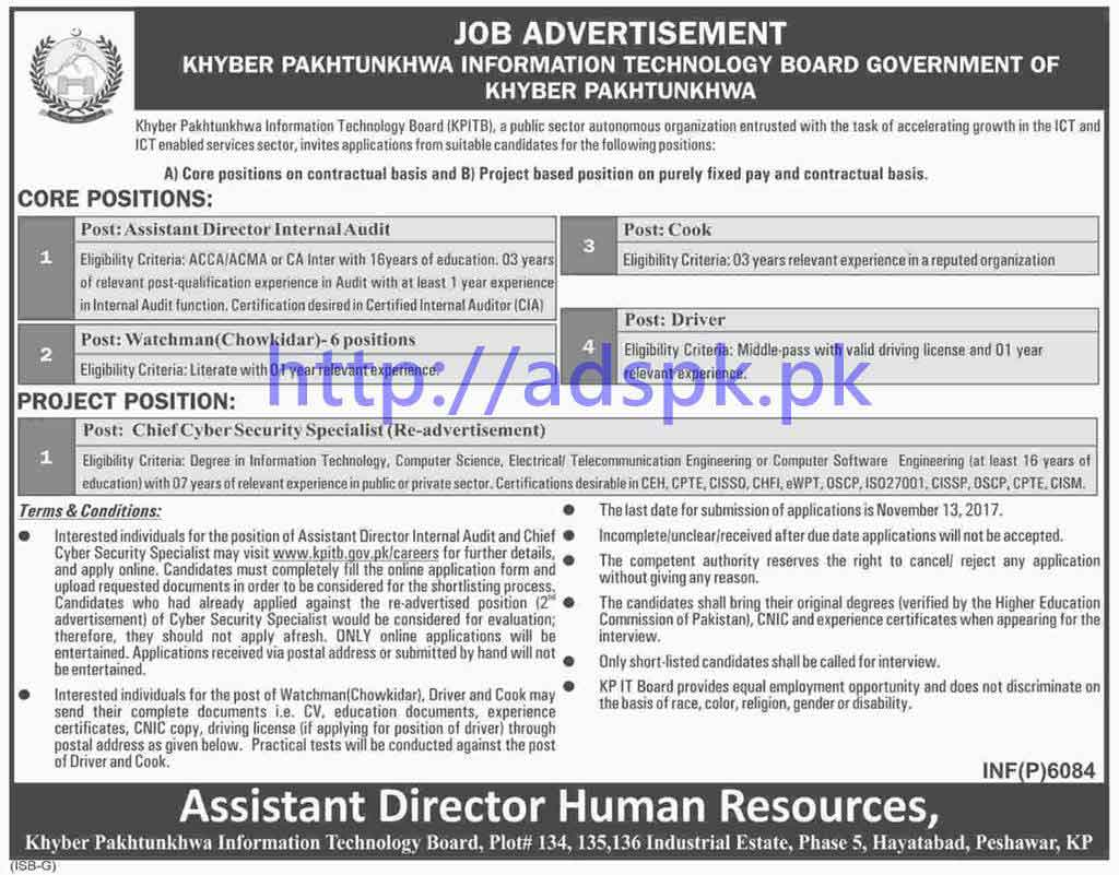 Khyber Pakhtunkhwa Information Technology Board KPITB Peshawar Jobs 2017 Assistant Director Internal Audit Chief Cyber Security Specialist Watchman Cook Driver Jobs Application Deadline 13-11-2017 Apply Now