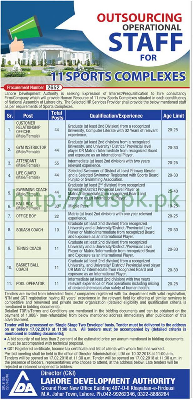Lahore Development Authority LDA Lahore Jobs 2018 Customer Relationship Officer Gym Instructor Attendant Life Guard Swimming Coach Ball Boy Office Boy Squash Coach Tennis Coach Basket Ball Coach Pool Operator Jobs Application Deadline 17-02-2018 Apply Now