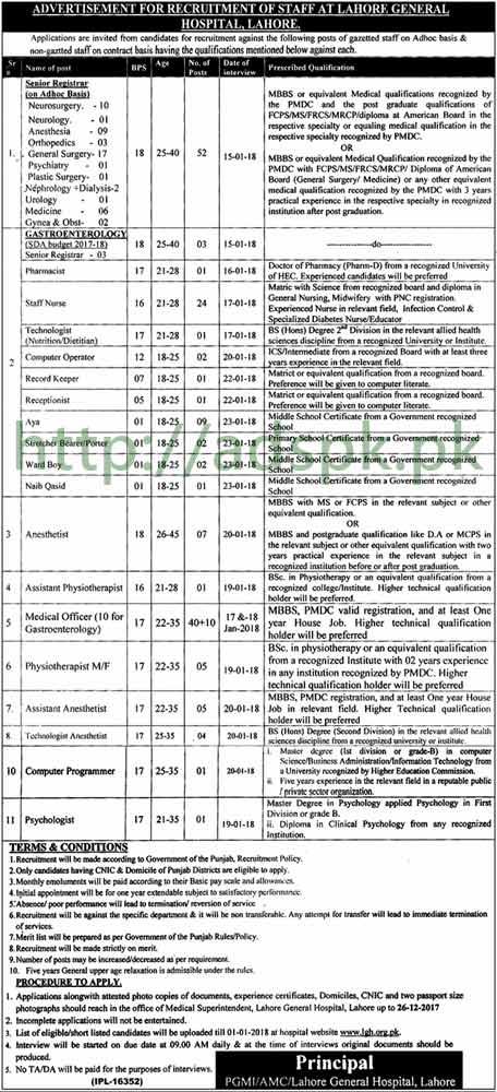 Lahore General Hospital Lahore Jobs 2017 Senior Registrar Pharmacist Staff Nurse Technologist Computer Operator Computer Programmer Jobs Application Deadline 26-12-2017 Apply Now