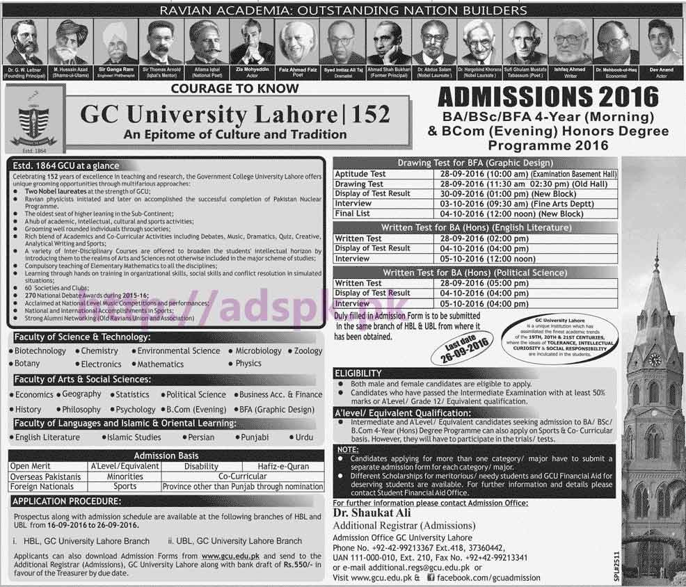 Latest Admissions Open 2016 GC University Lahore for B.A B.Sc BFA(4 Years Morning) and B.Com (Hons) Degree Programs Application Deadline 26-09-2016 Apply Now