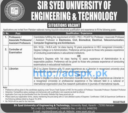 Latest Career Excellent Jobs Sir Syed University of
