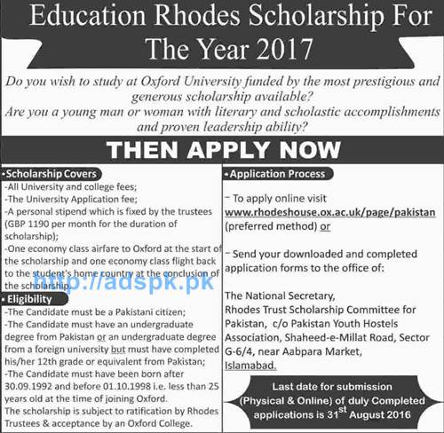 Latest Education Rhodes Scholarship 2017 Funded By Oxford