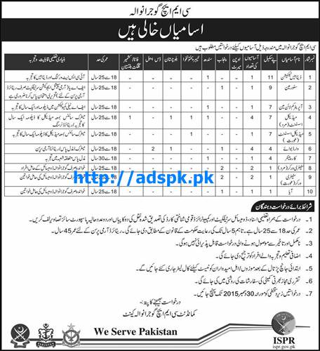 Latest Govt. Jobs CMH Gujranwala Jobs 2015 for BPS-01 to BPS-11 Database Technician Store Man Medical Assistant and other Staff Last Date 30-12-2015 Apply Now