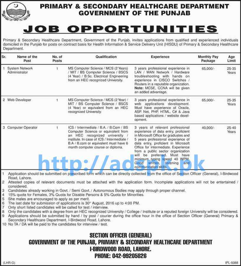 Latest Good Career Jobs In Primary Secondary Healthcare Department Punjab Govt Lahore For