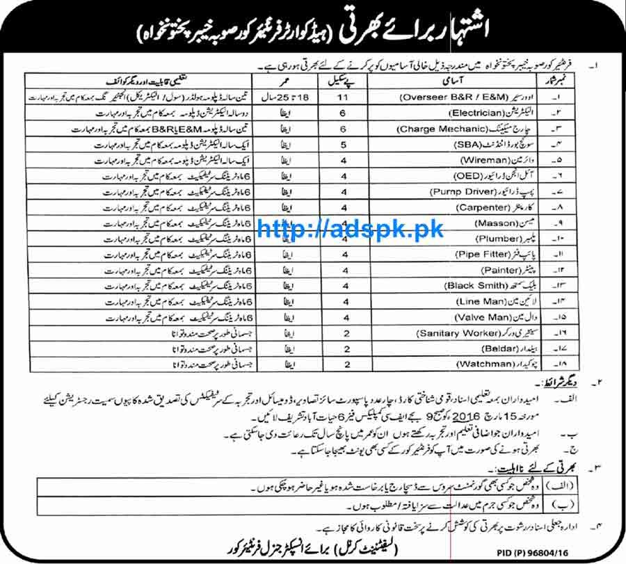 Latest Jobs of Frontier Corps Pakistan Army KPK Peshawar