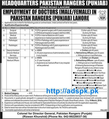 Latest Jobs of Headquarters Pakistan Rangers Punjab Lahore Jobs 2016 for  Male-Female Doctors Specialist
