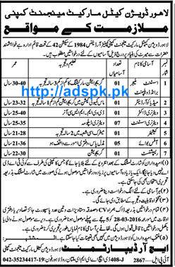 Latest Jobs of Lahore Cattle Market Management Company Lahore