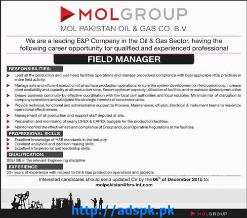 Latest Jobs of MOL Pakistan Oil & Gas Sector Jobs 2015 for ...
