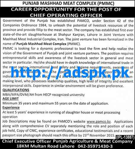 Latest jobs of punjab mashhad meat complex pmmc jobs 2015 for chief operating officer last - Chief operating officer jobs ...