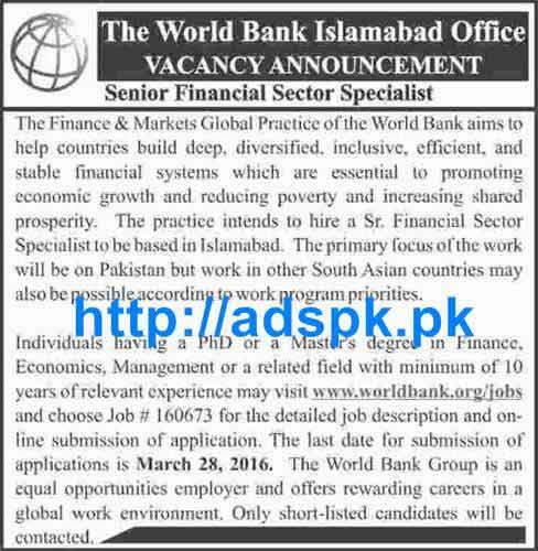 Latest Jobs of World Bank Islamabad Jobs 2016 for Senior ...