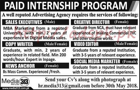 Media Private Limited 313 Paid Internship Program 2018 Sales