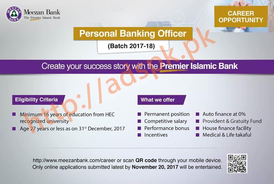 Meezan Bank Jobs Personal Banking Officer Batch 2017 18 Jobs