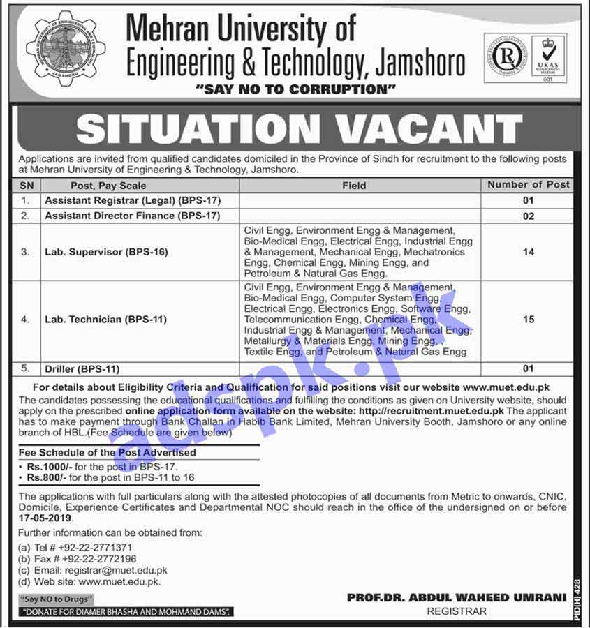 Mehran University of Engineering & Technology MUET Jamshoro Jobs 2019 for Assistant Registrar Legal Assistant Director Finance Lab Supervisor Lab Technician Driller Jobs Application Form Deadline 17-05-2019 Apply Online Now