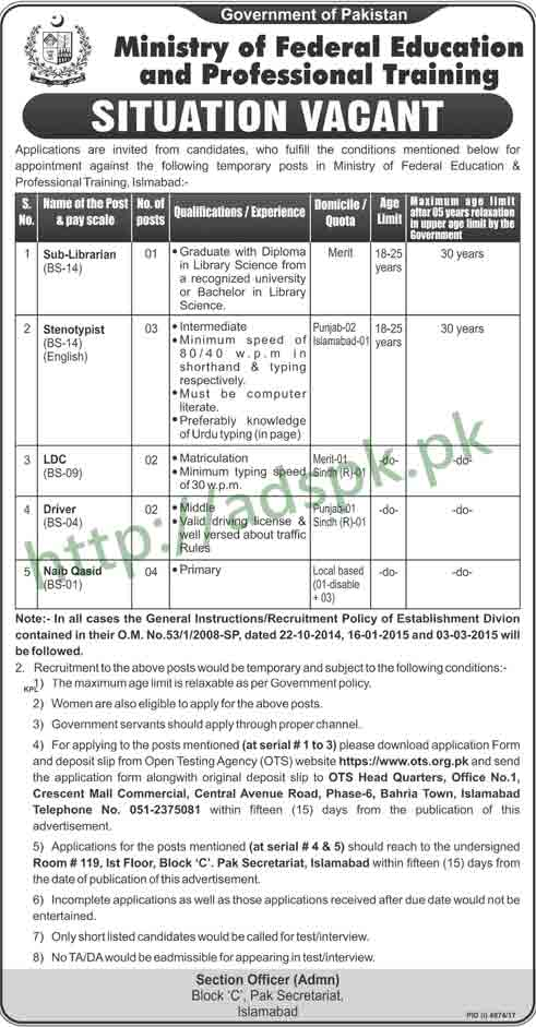 Ministry of Federal Education & Professional Training Jobs 2018 OTS Written Test MCQs Paper Sub Librarian Steno Typist LDC Jobs Application Form Deadline 26-03-2018 Apply Now