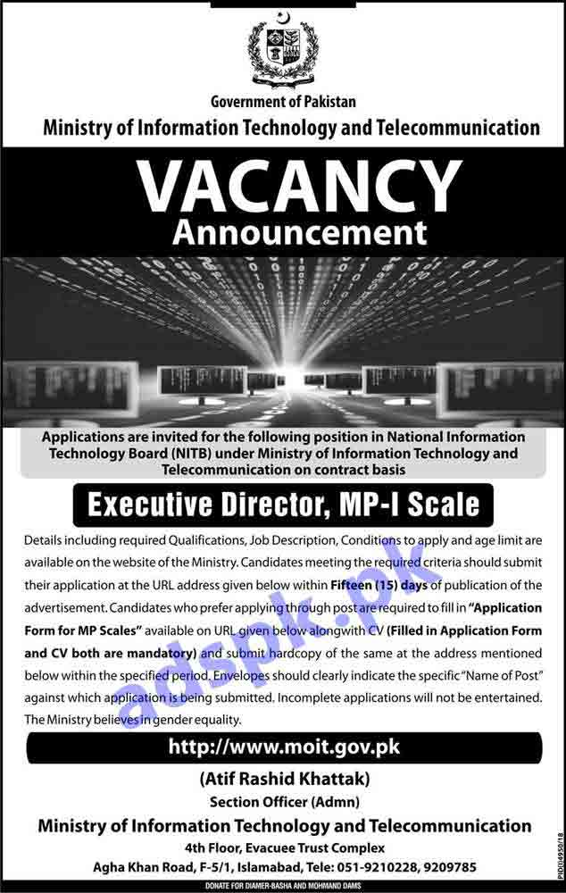 National Information Technology Board NITB Islamabad Jobs 2019 for Executive Director Jobs Application Deadline 04-05-2019 Apply Now