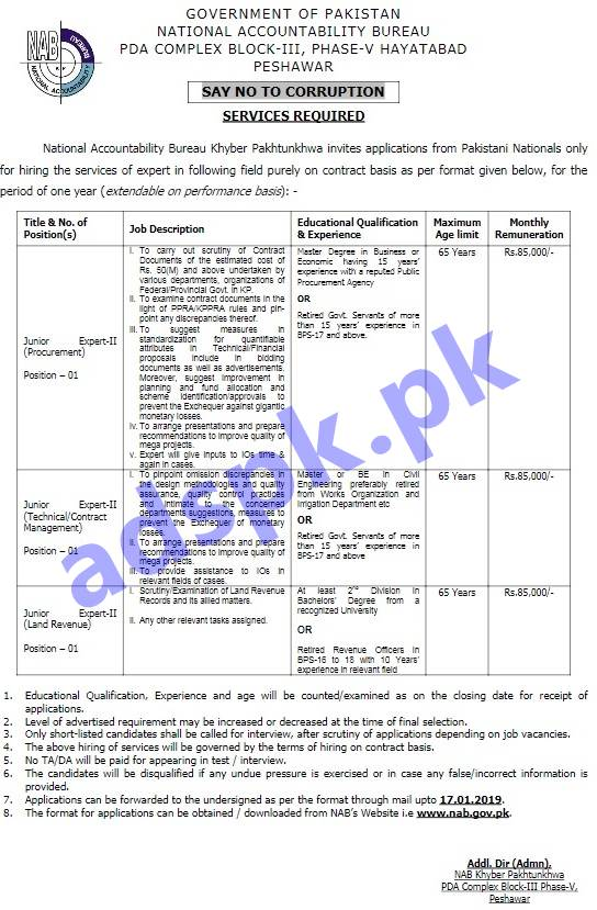 NAB KPK Peshawar Jobs 2019 for Junior Expert-II Various Disciplines Jobs Application Form Deadline 17-01-2019 Apply Now