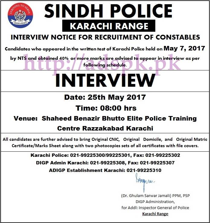 NTS List Of Candidates For Interview Karachi Police