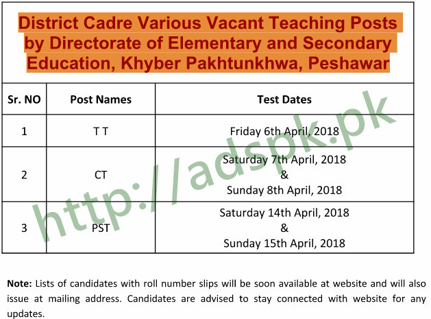 NTS New Test Schedule TT CT PST Teachers 2018 District Cadre KPK Education Department Peshawar Test dated Friday 6th April to Sunday 8th April 2018 & Saturday 14th April 15th April 2018 by NTS Pakistan