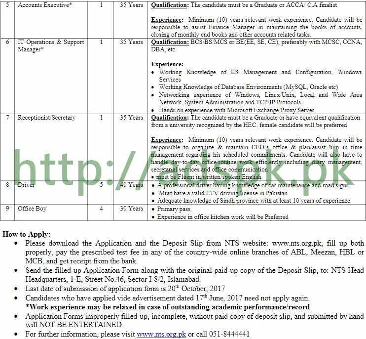 NTS Public Sector Company PSC Karachi Sindh Government Jobs 2017 NTS
