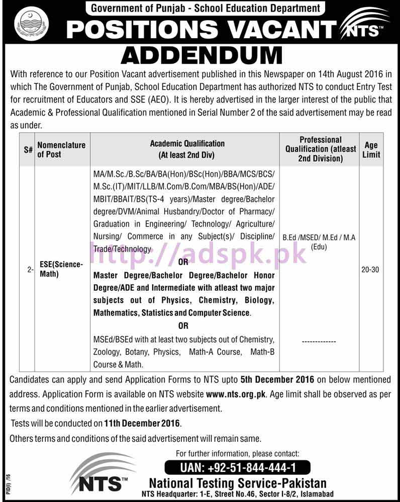 NTS Revised New Career Excellent Jobs Educators ESE (Science-Math) 2016-2017 Jobs Written Test Syllabus Papers Application Form Last Date 05-12-2016 Apply Now by National Testing Service
