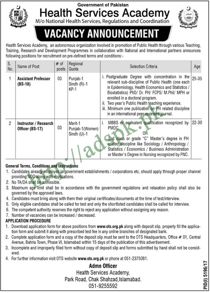 National Health Services Regulations & Coordination Jobs 2018 OTS Written Test MCQs Syllabus Paper Assistant Professor Instructor Research Officer Jobs Application Form Deadline 10-04-2018 Apply Now by Open Testing Service
