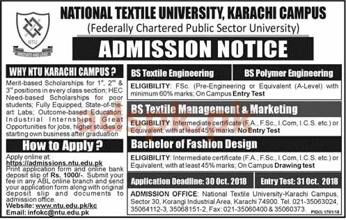 National Textile University Karachi Campus Admissions Open 2019 Bs Engineering Bachelor Fashion Design Degree Programs Application Form Deadline 30 10 2018 Apply Now Adspk Pk Very Helpful For Students And Jobless People