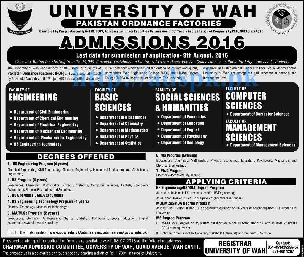 admissions open  university  wah pakistan ordnance factories  bs engineering bba