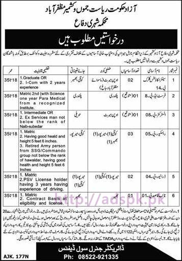 New Career Excellent Jobs Civil Defence Department AJK Muzaffarabad Jobs for Senior Accounts Clerk First Aid Instructor Rescuer Driver Application Deadline 13-12-2016 Apply Now