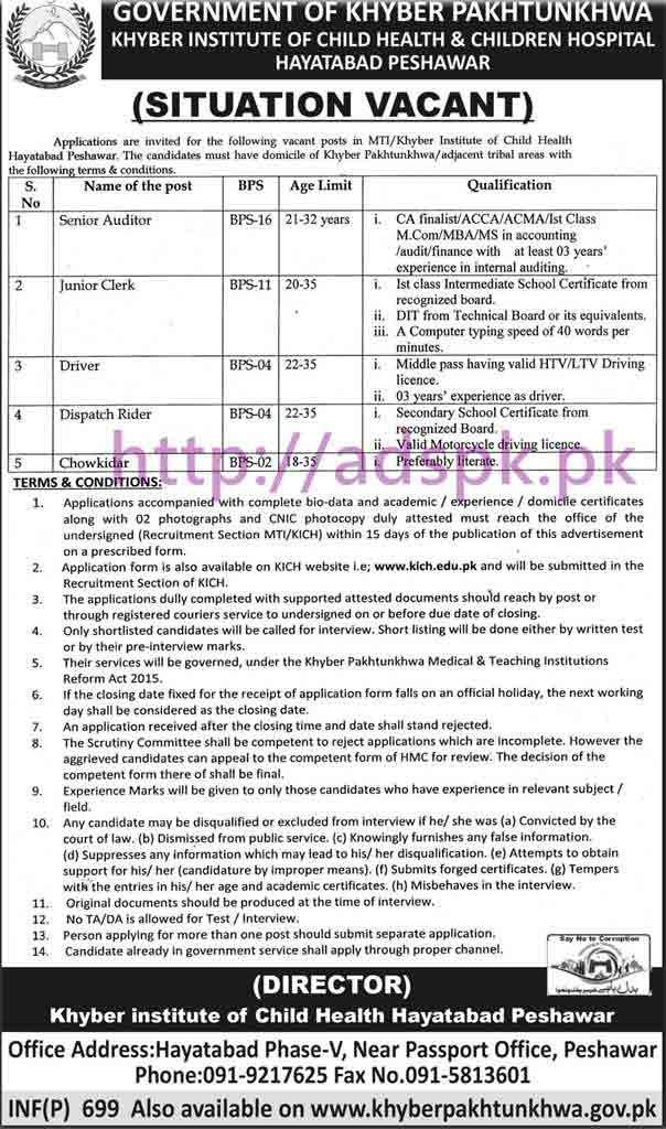 New Career Excellent Jobs Khyber Institute of Child Health & Children Hospital Peshawar Jobs for Senior Auditor Junior Clerk Driver Application Deadline 28-02-2017 Apply Now