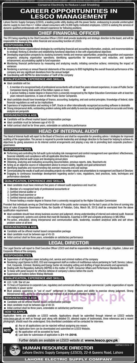 New Career Excellent Jobs Lahore Electric Supply Company LESCO Jobs for Chief Financial Officer Head of Internal Audit Legal Director Application Deadline 21-11-2016 Apply Now