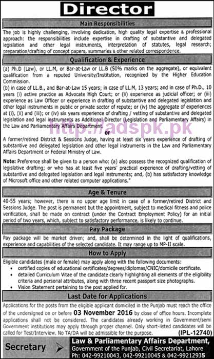 New Career Excellent Jobs Law & Parliamentary Affairs Department Punjab Govt. Lahore Jobs for Director Application Deadline 03-11-2016 Apply Now