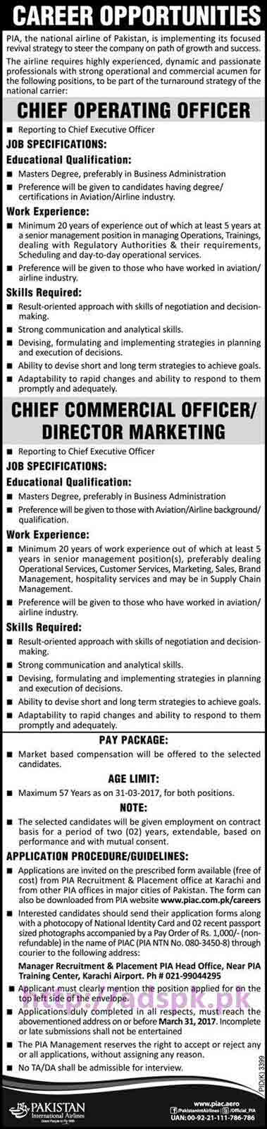 New career excellent jobs pia the national airline of pakistan karachi jobs for chief operating - Chief operating officer jobs ...