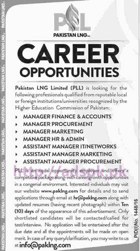 New Career Excellent Jobs Pakistan LNG Limited (PLL) Jobs for Managers and Assistant Managers Application Deadline 03-10-2016 Apply Online Now