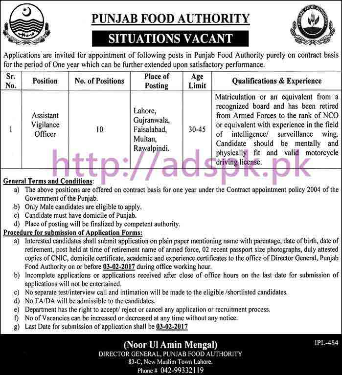 New Career Excellent Jobs Punjab Food Authority Lahore Jobs for Assistant Vigilance Officer Application Deadline 03-02-2017 Apply Now