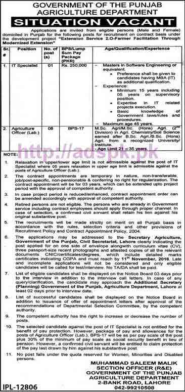 New Career Excellent Jobs Punjab Govt. Agriculture Department Lahore Jobs for I.T Specialist and Agriculture Officer Lab Application Deadline 11-11-2016 Apply Now