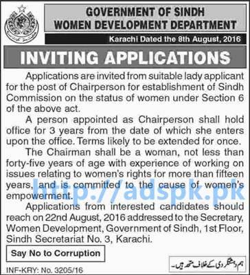 New Career Excellent Jobs Women Development Department Sindh Govt