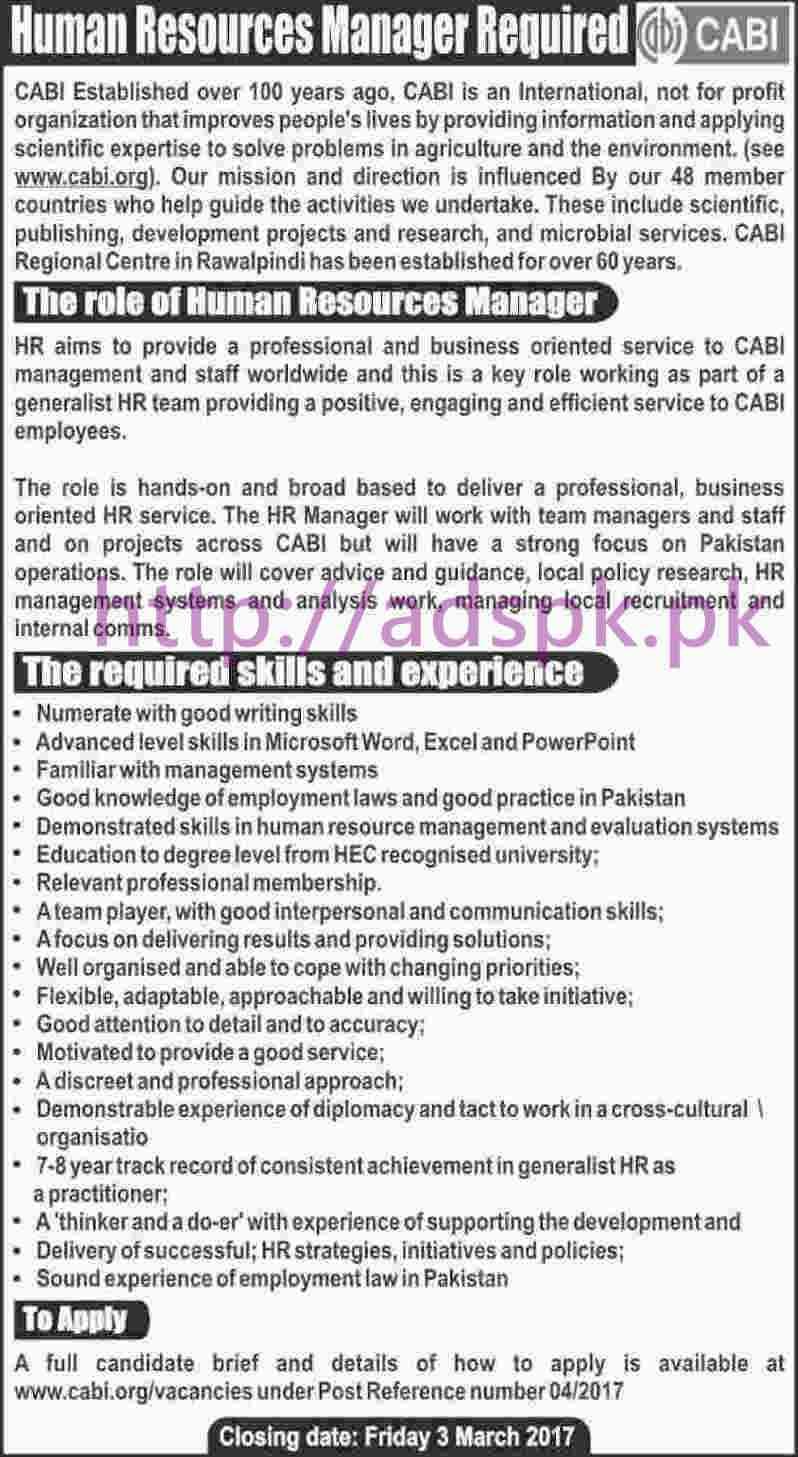 latest govt jobs in lahore karachi islamabad we new career jobs cabi organization jobs for hr manager application deadline 03 03 2017